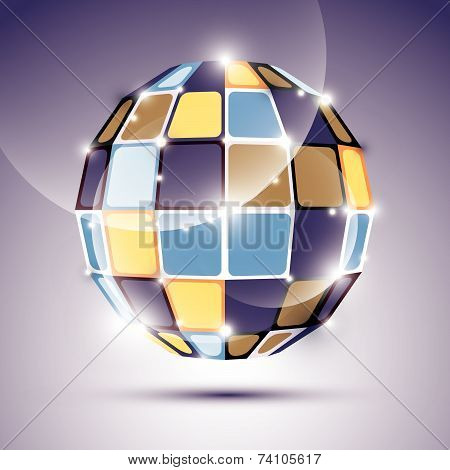 3D glossy mirror ball created from geometric figures