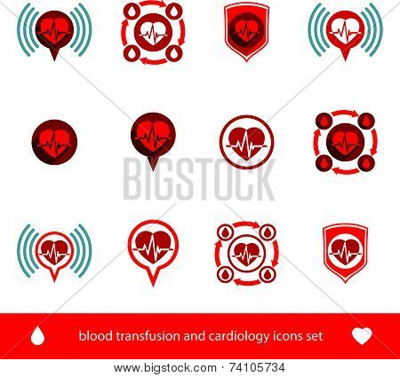 Cardiology and blood transfusion icons set, creative symbols for medical theme