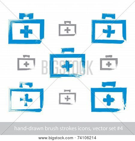 Set Of Brush Drawing Simple Blue First Aid Kit