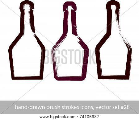 Set of hand-drawn stroke simple empty bottle of rum, symmetric brush drawing bottle icons