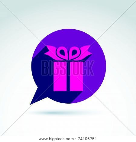 Speech bubble with a purple gift box sign. Vector present icon. Chat on a birthday theme.