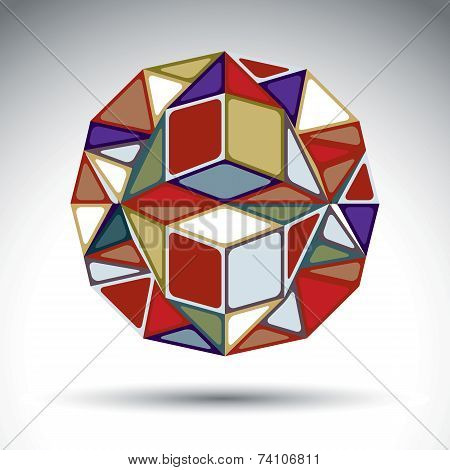Abstract Dimensional Sphere With Kaleidoscope Effect. Stylish Orb Constructed From Colorful Geometri