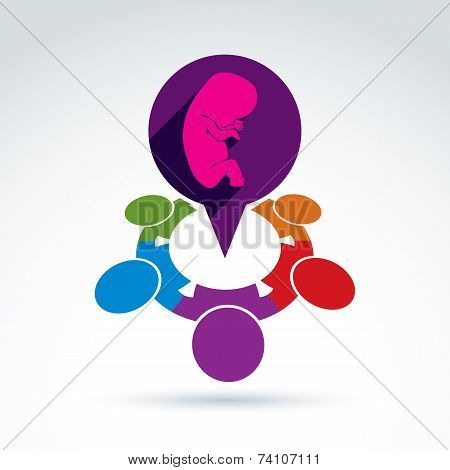 Illustration Of A Speech Bubble And A Baby Embryo. Different Nationalities Chat On Pregnancy