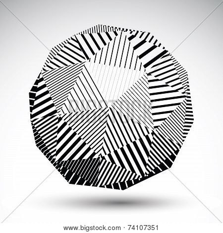 Symmetric Spherical 3D Vector Technology Illustration, Perspective Geometric Striped Orb, Monochrome