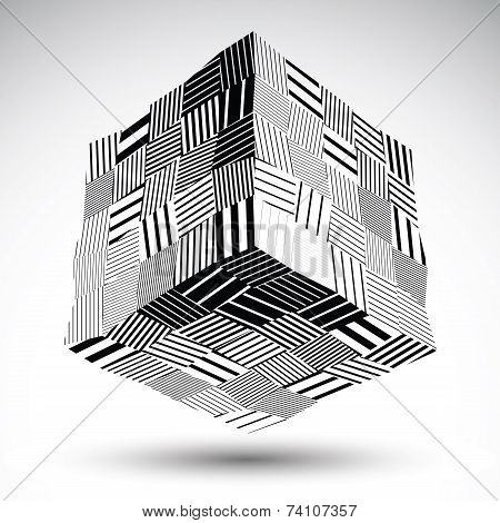 Undulate Squared Eps8 Contrast Object With Black Parallel Lines. Symmetric Rectangular Object