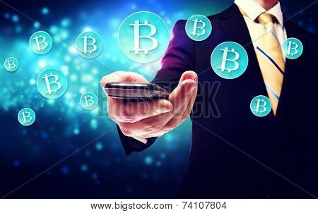 Bitcoin Currency With Smart Phone
