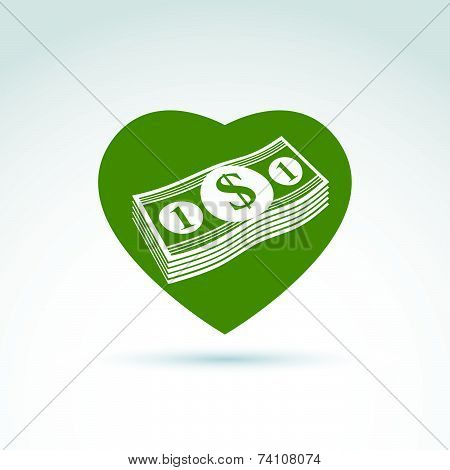 Love money success, greed, crediting and depositing, wealth and money theme icon, conceptual special