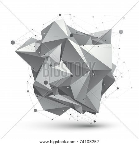 Abstract 3D Structure Polygonal Network Object, Grayscale Art Deformed Figure.