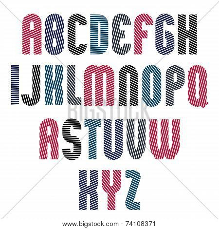 Decorative Striped Retro Font, Geometric Bright Typeface With Parallel Diagonal  Lines.