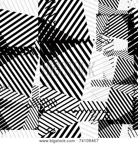 Black And White Seamless Pattern With Parallel Lines And Geometric Elements, Infinite Mosaic Textile