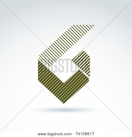 Abstract Design Element With Parallel Stripes. Green Geometric Symbol, Checkmark, Infographic