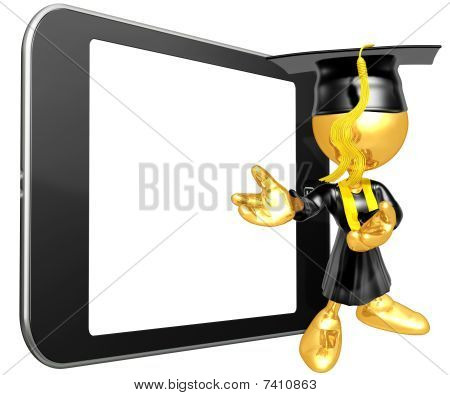 Gold Guy Graduate With Touch Screen Mobile Device