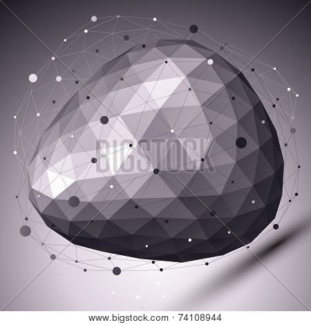 Abstract Deformed Vector Monochrome Object With Asymmetric Lines Mesh Over Dark Background.