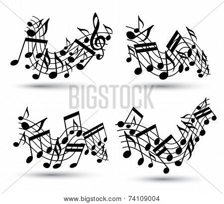 Vector Black Jolly Wavy Staves With Musical Notes On White Background, Decorative Musical Notes