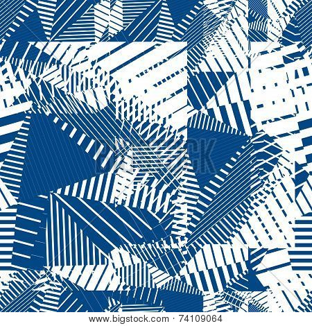 Blue Geometric Tiles Seamless Pattern, Decorative Background.