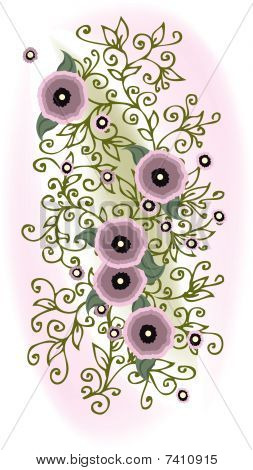 Refined Floral vignette. In Color. Eau-forte EPS-10