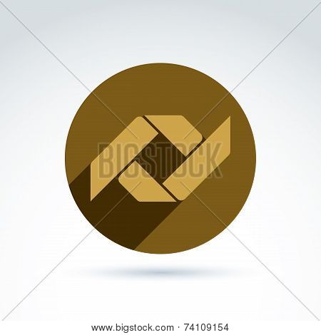 Vector Bronze Geometric Abstract Emblem Placed In A Circle. Corporate Element Isolated