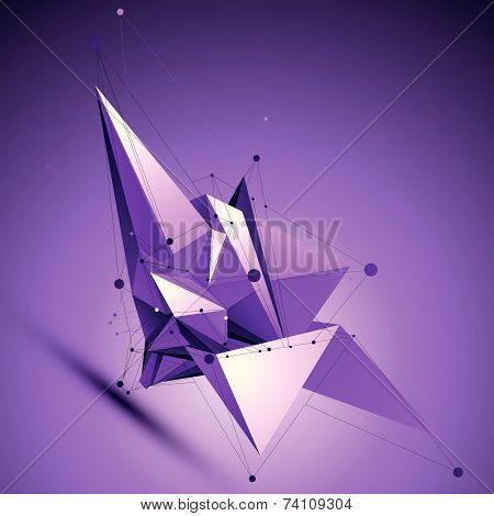 Purple spatial technological shape, polygonal wireframe object placed over shaded background.
