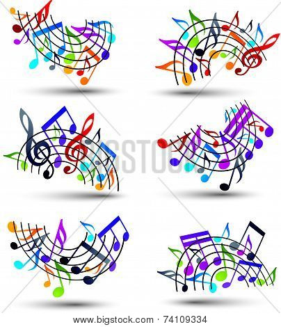 Bright jolly vector staves with musical notes