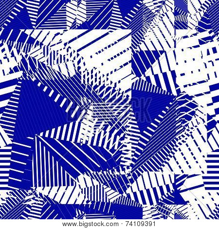 Blue geometric tiles seamless pattern, vector mosaic decorative background.