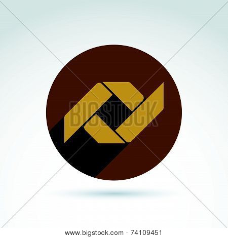 Vector bronze geometric abstract emblem