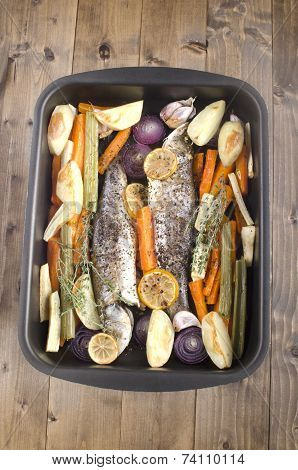Sea Bass Cooked With Vegetable