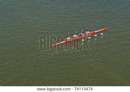 Four Men Rowing On Danube River