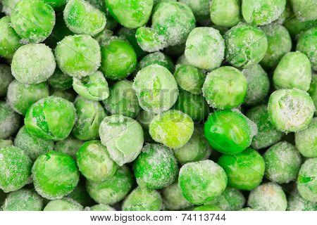 Frozen green peas. Close up.