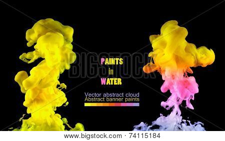 Two watercolor clouds. Paint spinning in water.