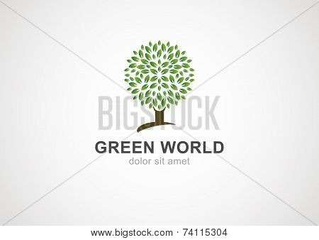 Green Circle Tree Vector Logo Design Template. Garden Or Ecology Icon
