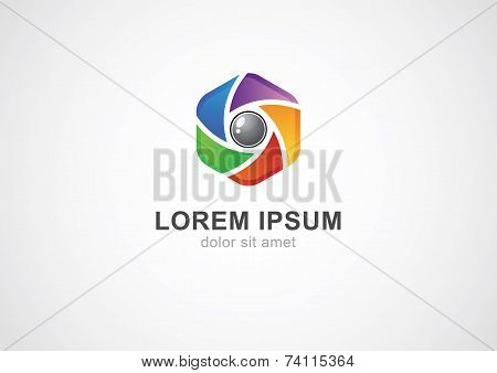 Abstract Colorful Camera Shutter ( Aperture ) With Blades. Vector Logo Icon