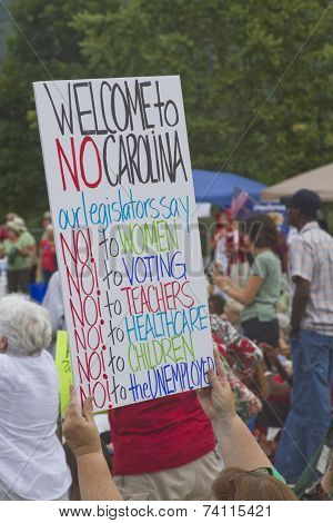 North Carolina Moral Monday Political Protest Sign