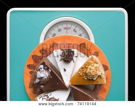 Chocolate cake on weigh-scale - help!