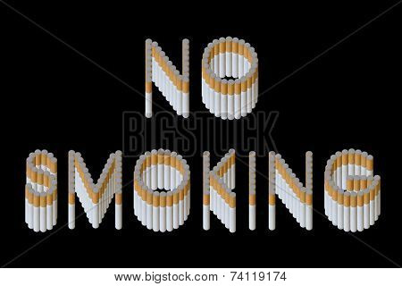 Words No Smoking from cigarette