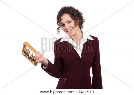 Businesswoman With Wooden Abacus.