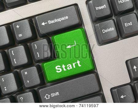 Keyboard - green key Start, closeup