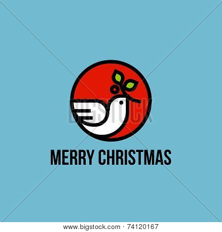 Christmas Dove Of Peace With Holly Branch Flat Line Icon