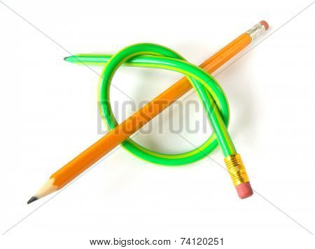 Two pencils (like a knot), isolated on white