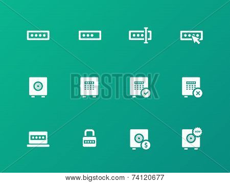 Password icons on green background.