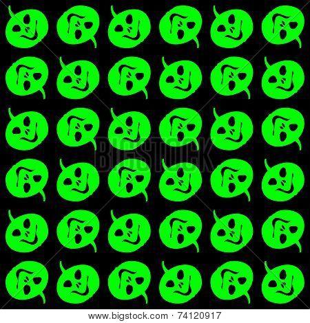 Halloween - Green Pumpkin Heads Pattern