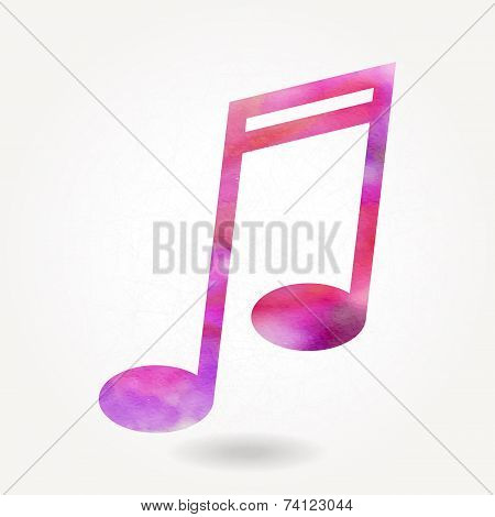 Stylized Silhouette Of Musical Note With Watercolor Texture