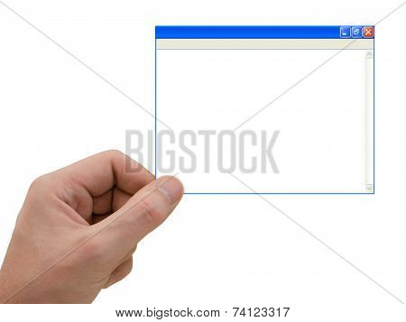 Computer window in hand, isolated on white background