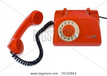 Retro telephone and receiver, isolated on white background