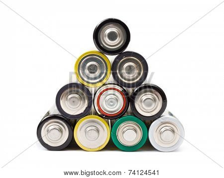 Stack of battery, isolated on white background