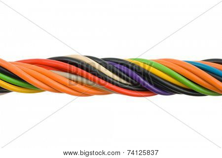 Multicolored computer cable isolated on white background