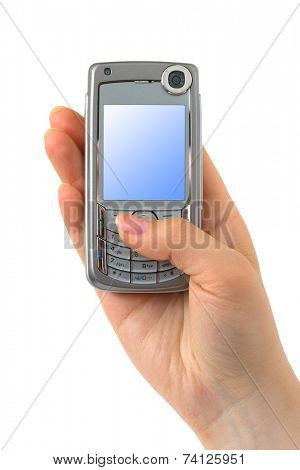 Mobile phone in hand isolated on white background