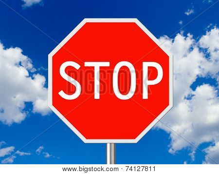 Traffic sign Stop, sky on background