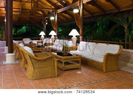 Interior of tropical hotel lobby, travel background