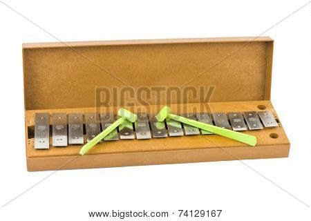 Toy xylophone isolated on white background