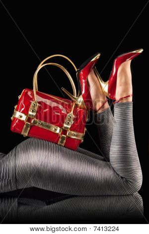Red Handbag And Pumps.